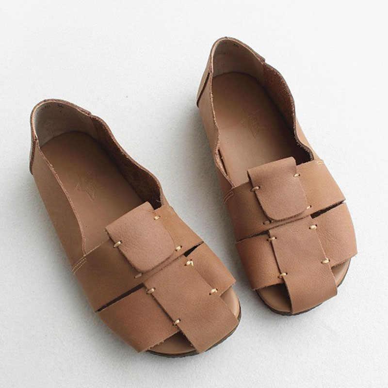รองเท้าผู้หญิงลื่นบน Loafers Peep toe ฤดูร้อน Ballerina รองเท้าผู้หญิง 100% ของแท้หนังสุภาพสตรีรองเท้าแบน Chic Rome รองเท้า