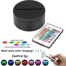 USB 3D с пультом дистанционного управления, светильник с держателем лампы, базовый светильник, внутренний сенсорный светильник, светодиодный светильник, 7 цветов, светящийся светодиодный светильник