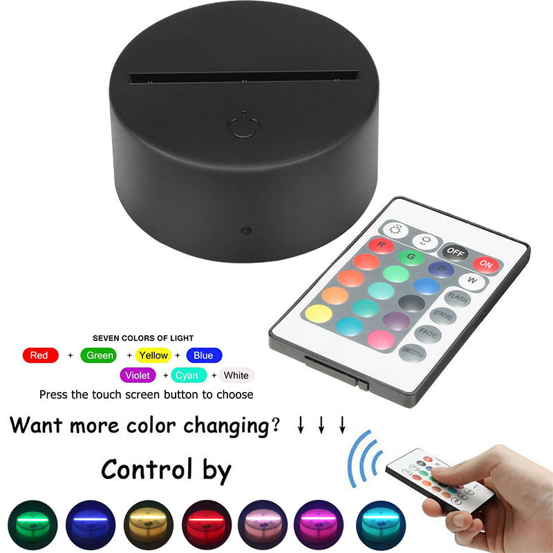 3D With Remote Control Lamp Holder Light Base Lighting Fixture Indoor Touch Lamp Bases LED 7 Color Luminous Table Led Base