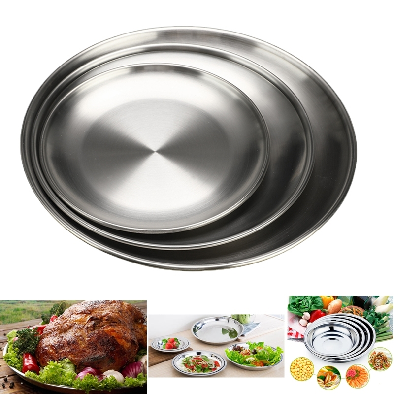 14-20cm Tableware Dish Tray Food Container Stainless Steel Barbecue Dinner Outdoor Camping Picnic Plate image