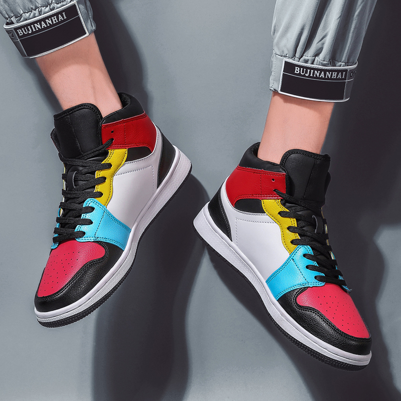Купить с кэшбэком Brand Leather Men Skateboarding Shoes Superstar Sneakers High Top Male Boots Shoes Outdoor Rubber For Men Flat Shoes Zapatillas