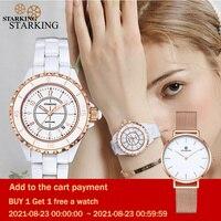 Frauen Uhren Luxus 2021 Wasserdicht Weiß Keramik Diamant Damen Uhr Saphir Quarz Armbanduhr Relogios Femininos STARKING