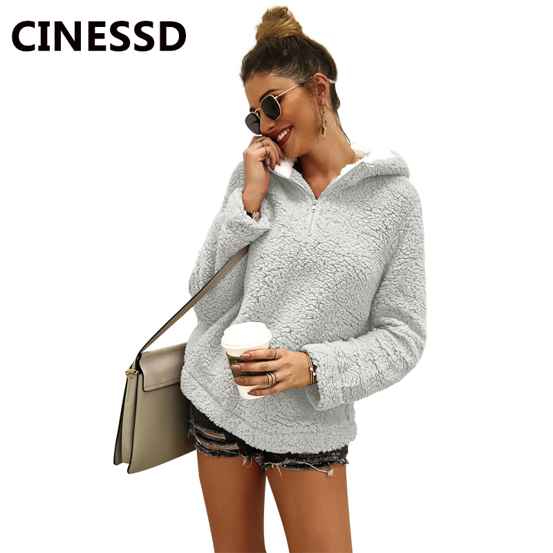 CINESSD Women Hooded Sweatshirts Hoodies Solid Long Sleeves Zipper Casual Loose Pullover Tops Autumn Winter Tunic Hoodie Coats in Hoodies amp Sweatshirts from Women 39 s Clothing