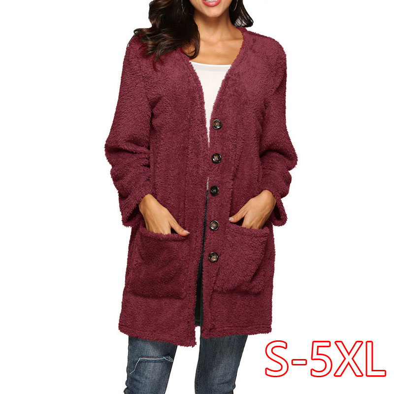 Autumn Solid Simple Casual Plus Size 5XL Women Clothes Double-Sided Velvet Big Pocket Plush Knitted Sweater Button Warm Cardigan