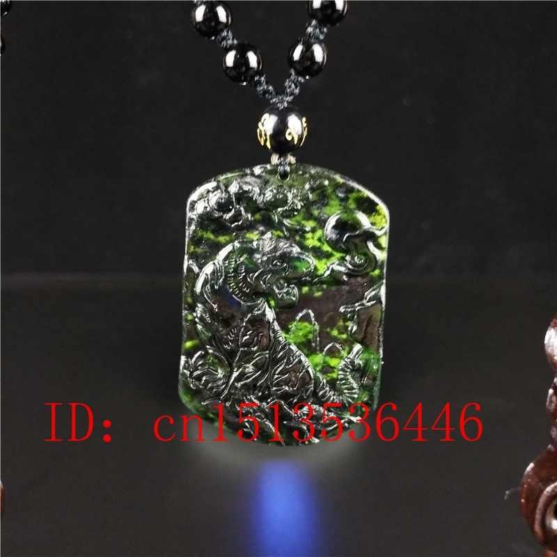 認定中国自然な黒緑のヒスイ虎ペンダントネックレスファッションチャームジュエリー男運ギフトお守りセーターチェーン