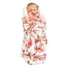 2pcs Newborn Baby Floral Swaddle Wrap Swaddling Sleeping Bags Blanket Headband Sets Cotton Blend Warm Autumn Winter(China)