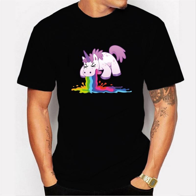 Puking Unicorn Men's Tshirt Camiseta Masculina New Ulzzang Loose Men T Shirt Licorne Cartoon T-shirt Summer Unicornio Tops Tees