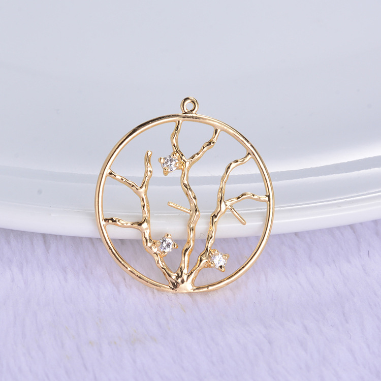 (345) 6PCS 24x22MM 24K Gold Color Plated Brass with Zircon Round Tree Pendants Charms High Quality DIY Jewelry Making Findings