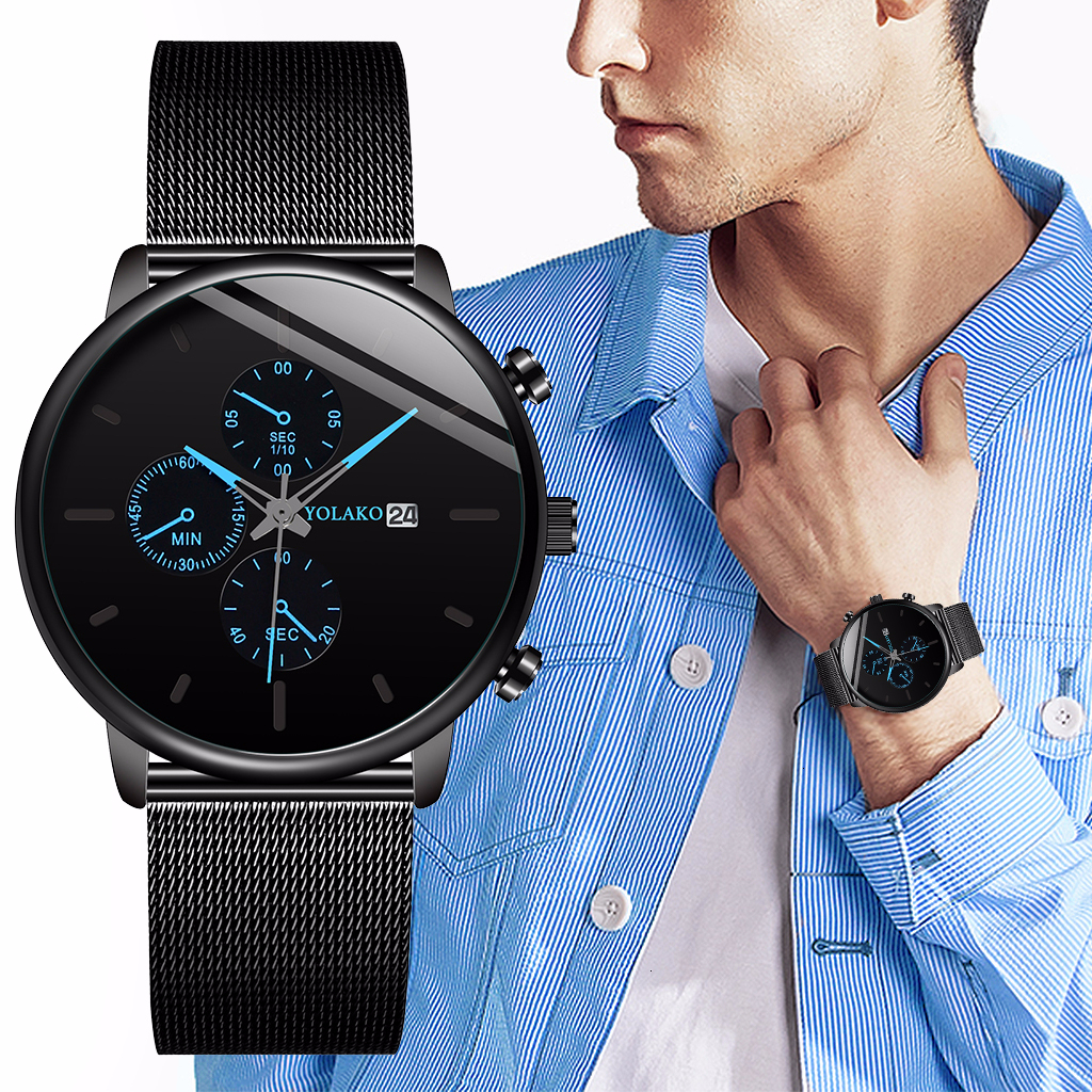 Three Dials Men  Sport Watch Black Stainless Steel Mesh Belt Business YOLAKO Watch Luxury Men Quartz Clock Relogio Masculino