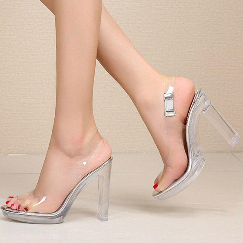 Silentsea été talons transparents femmes sandales PVC talons clairs chaussures femme cheville marque Sexy talons hauts chaussures 35-41