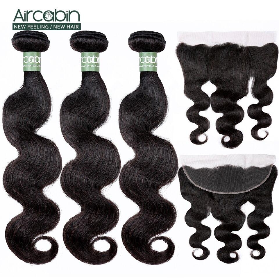 Aircabin onda do corpo brasileiro cabelo humano 3 pacotes com fechamento frontal 13x4 rendas frontal com pacotes remy cabelo preto natural