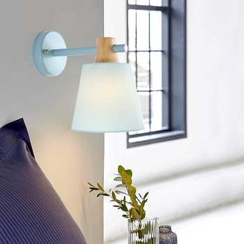 Nordic wall lamp bedside lamp bedroom modern living room aisle stairs simple iron belt wall lamp LED light