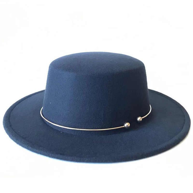 Baru Pria Sombrero Bowler Gereja Trilby Topi untuk Wanita Golden Circle Cap Femme Vintage Modis Hitam Top Merasa Fedora topi
