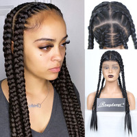 RONGDUOYI Black Box Braid Wigs Synthetic Full Lace Wig High Temperature Fiber Hair Braided Wig Natural Hairline Wigs for Women
