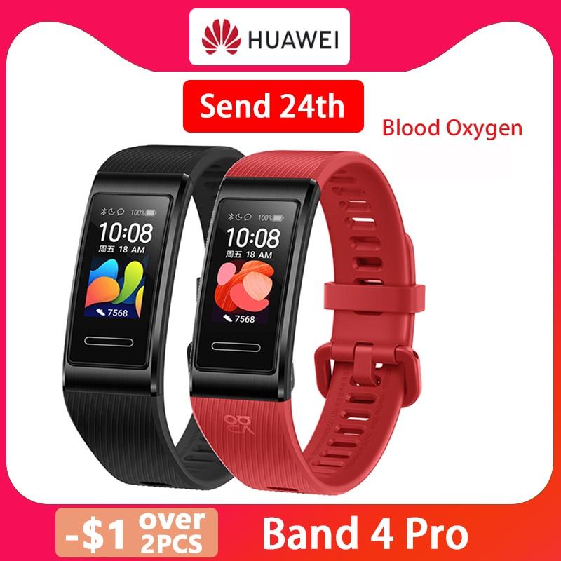 Новый смарт-браслет Huawei Band 4 Pro GPS с металлической рамкой и цветным сенсорным экраном, кислородом, датчиком пульса, датчиком сна