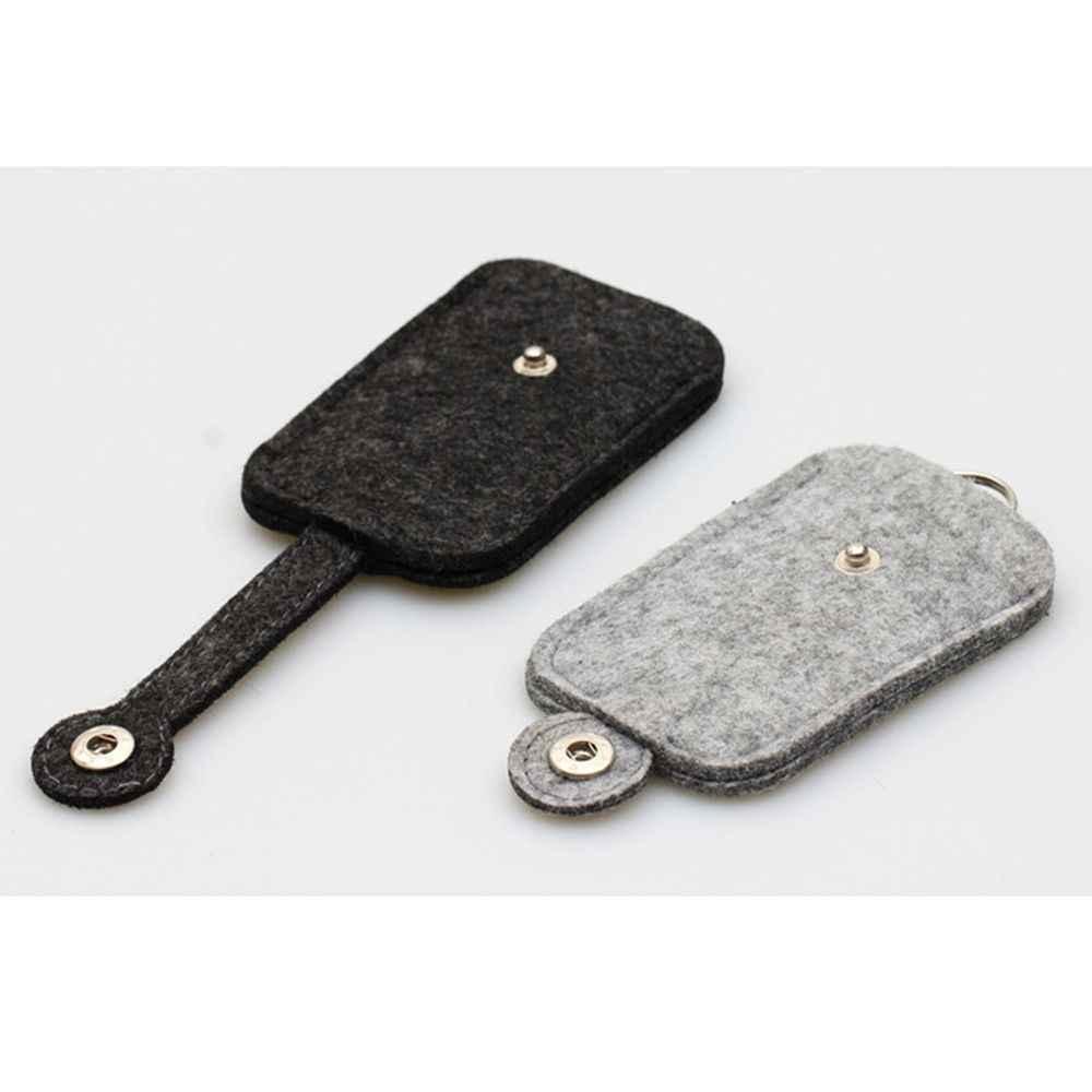 새로운 1Pc 패션 자동차 키 가방 지갑 지갑 모직 펠트 키 체인 홀더 포켓 키 주최자 파우치 케이스 가방 남자 가정부