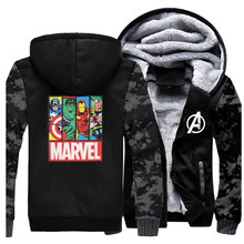 Men Fleece Winter Jacket Thick Fleece Superhero Warm Mens Jackets And Coats Hoodie Sportswear Thor Hulk Superman Sweatshirt Coat(China)