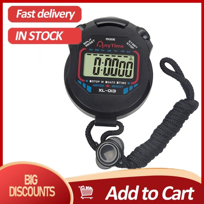 Классический цифровой профессиональный ручной ЖК-хронограф спортивный секундомер таймер секундомер со шнурком