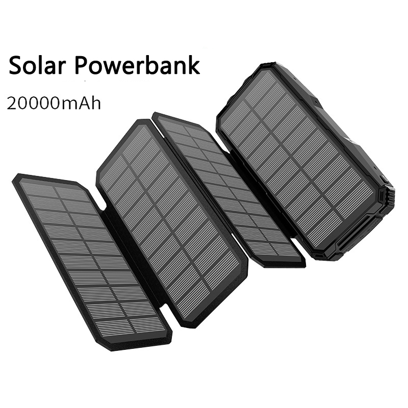 <font><b>20000mAh</b></font> <font><b>Solar</b></font> <font><b>Power</b></font> <font><b>Bank</b></font> For Mobile Phone Tablet 2 USB Powerbank Portable Charger External Battery Pack Poverbank for Xiaomi mi image