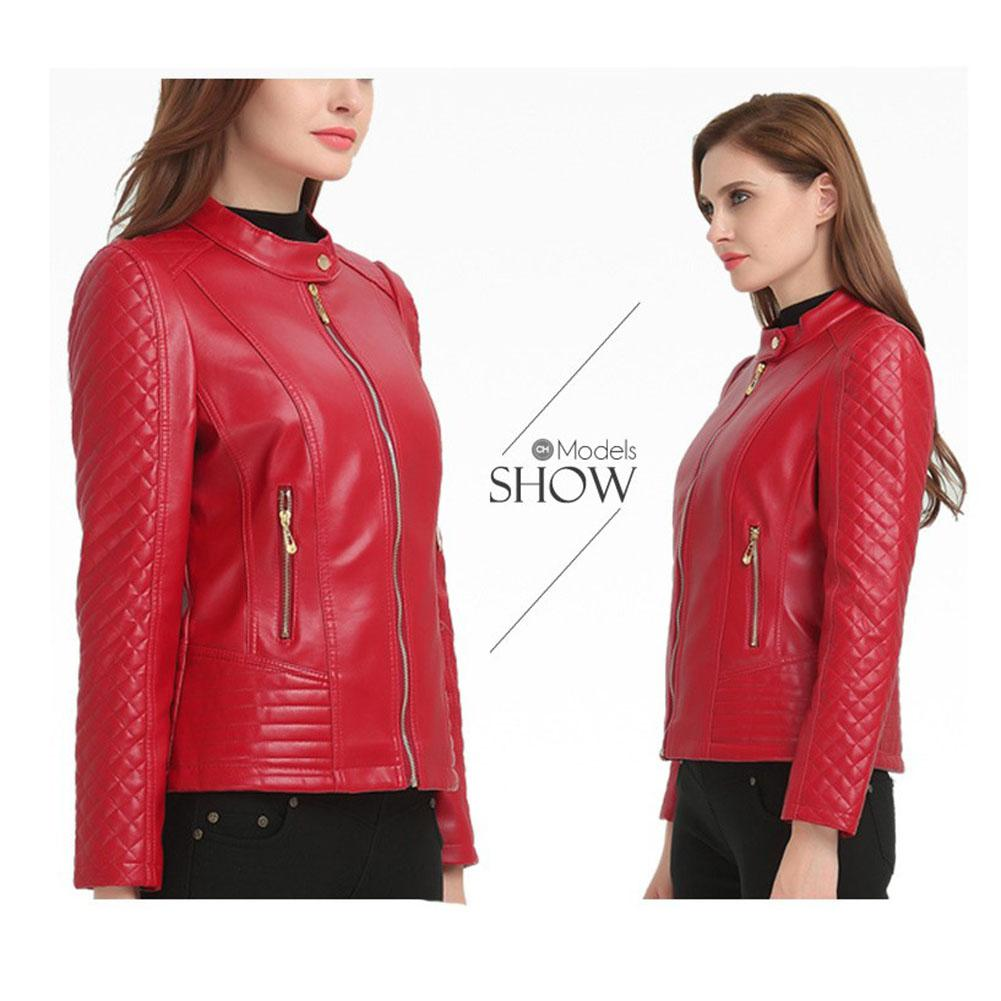 2019 New Yfashion Woman Short Motorcycle Pu Leather Zipper Red   Jacket   for Female Women   Basic     Jackets   Autumn Outerwear