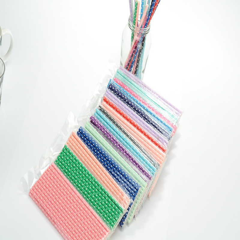 2019 New Style Manufacturers Direct Selling Paper Sucker Creative Disposable Dotted Color Paper Straw