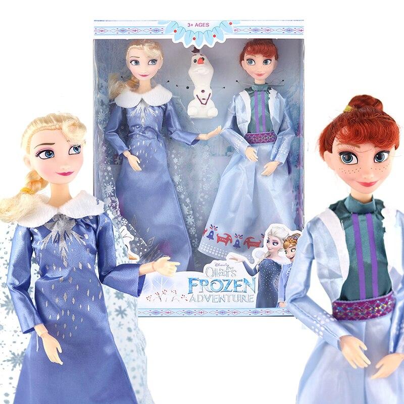 30 cm congelado 2 elsa, anna, olaf princesa coleção figura de ação brinquedos quentes modelo bonecas natal ano novo presente para crianças
