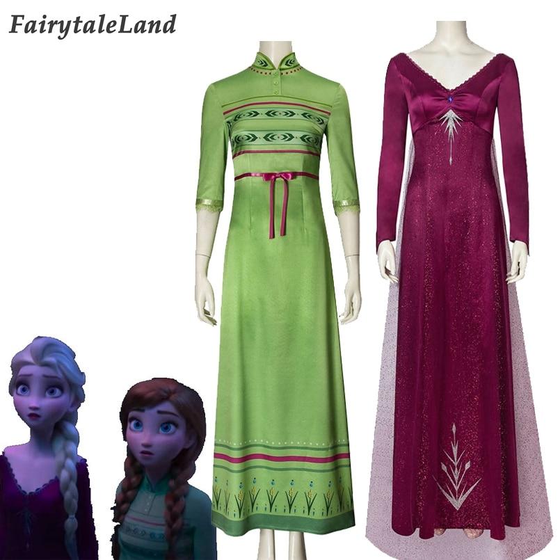 Princess Elsa Anna Coplay Dress Carnival Halloween Costume Elsa Red Dress Princess Coplay Outfit Anna Green Dress Custom Made