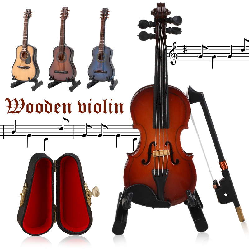 New Mini Violin Guitar Upgraded Version With Support Miniature Wooden Musical Instruments Collection Decorative Ornaments Model
