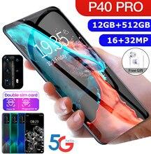 Hawei p40 pro 5g smartphone 6.3 Polegada 12gb + 512gb rosto/impressão digital desbloqueio duplo sim telefone suporta t-card smartphone 16 + 32mp