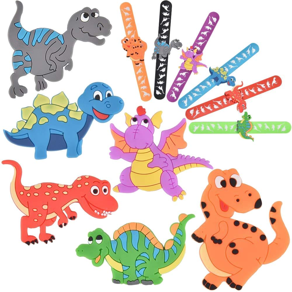 1pcs Kids Dinosaur Party Favors Slap Bracelets Dinosaur Rings DIY Slap Bracelets Silicone Dinosaur Party Toys For Children Gift