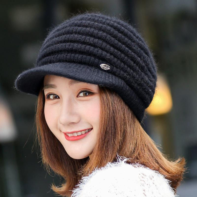 New Women Winter Hat Female Keep Warm Beanie Pineapple Texture Rabbit Fur Knitted Hats For Woman Ladies Winter Hat