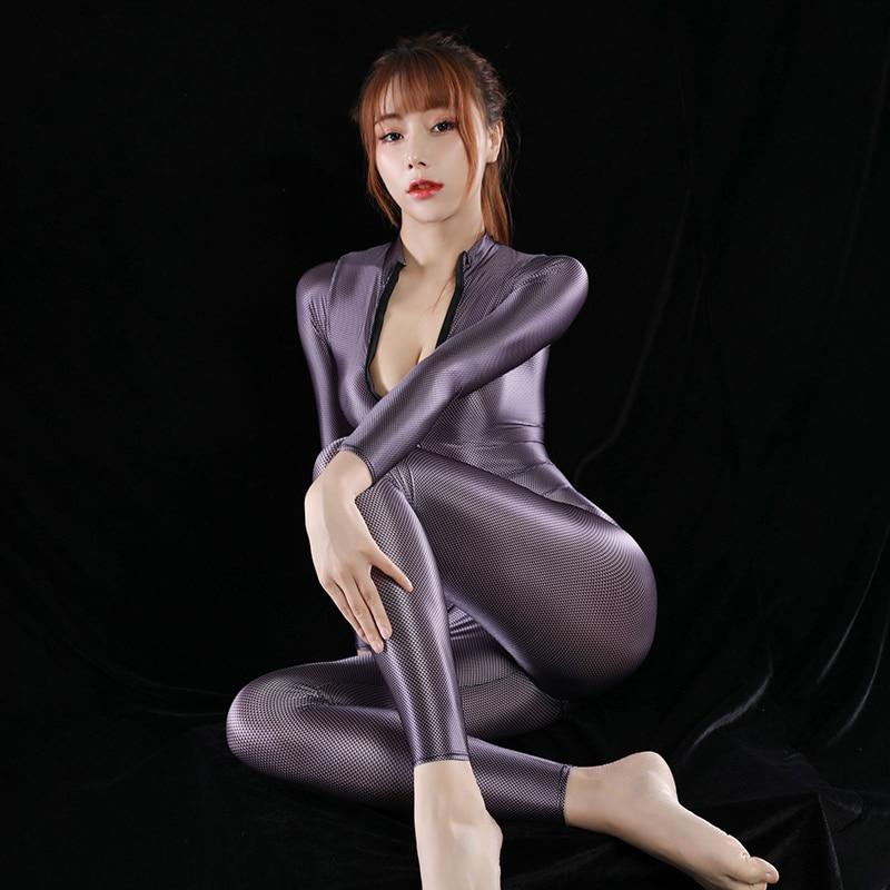 Женское боди с открытой спиной HYRAX, пикантная сплошная одежда для плавания, атласное блестящее трико, высокая эластичность, блестящие купал...