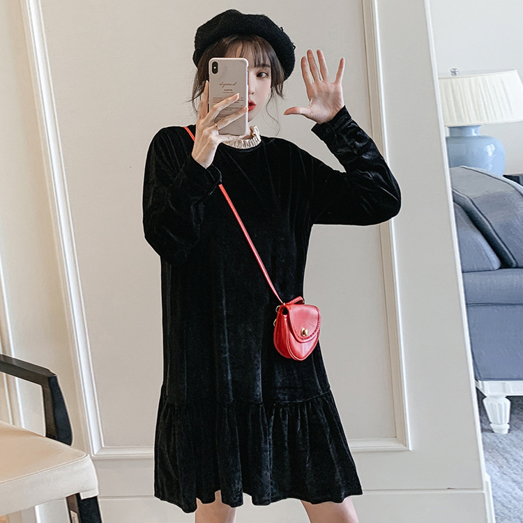 2020 Large Size WOMEN'S Dress Spring And Autumn New Style Western Style Loose-Fit Slimming Flounced Base Long Sleeve Black Dress