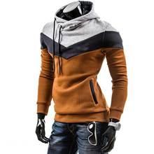 купить Autumn Fashion Men Splicing Hoodie Long Sleeve Pullover Cotton Casual Hooded Sweatshirt Mens Winter Tops дешево