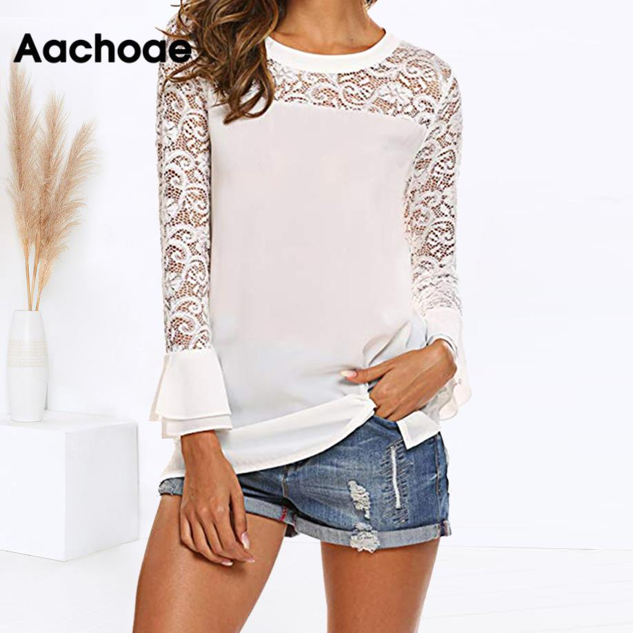 White Lace Chiffon Blouse Ruffle Long Sleeve Shirt 2020 New Spring Summer Womens Tops And Blouses Tunics Chemisier Femme Blusas