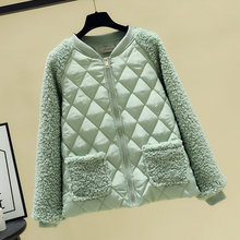 Winter Polyester Women's Down Jacket Stand Collar Long Sleeve Cardigan Pockets Loose Solid Fashion Office Lady Down Jacket