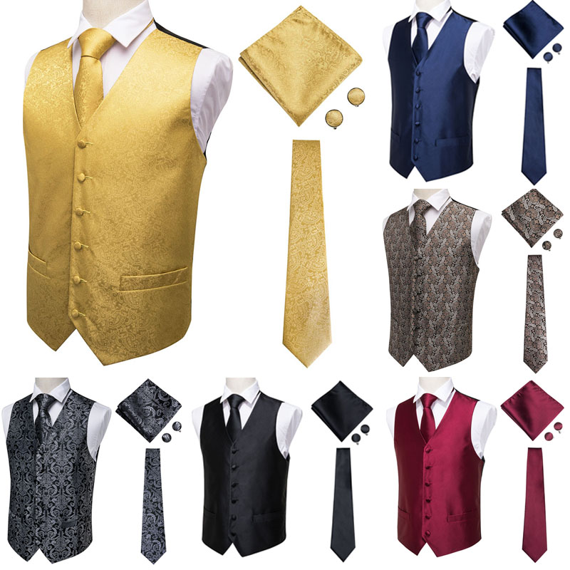 Suit Vest Paisley Square-Set Wedding-Tie Classic Men's Pocket Jacquard Handkerchief Party
