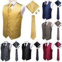 Hi-Tie Suit Vest Men's Classic Paisley Jacquard Waistcoat Vest Handkerchief Party wedding Tie vest Suit Pocket Square Set