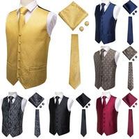 Hi Tie Suit Vest Men's Classic Paisley Jacquard Waistcoat Vest Handkerchief Party wedding Tie vest Suit Pocket Square Set