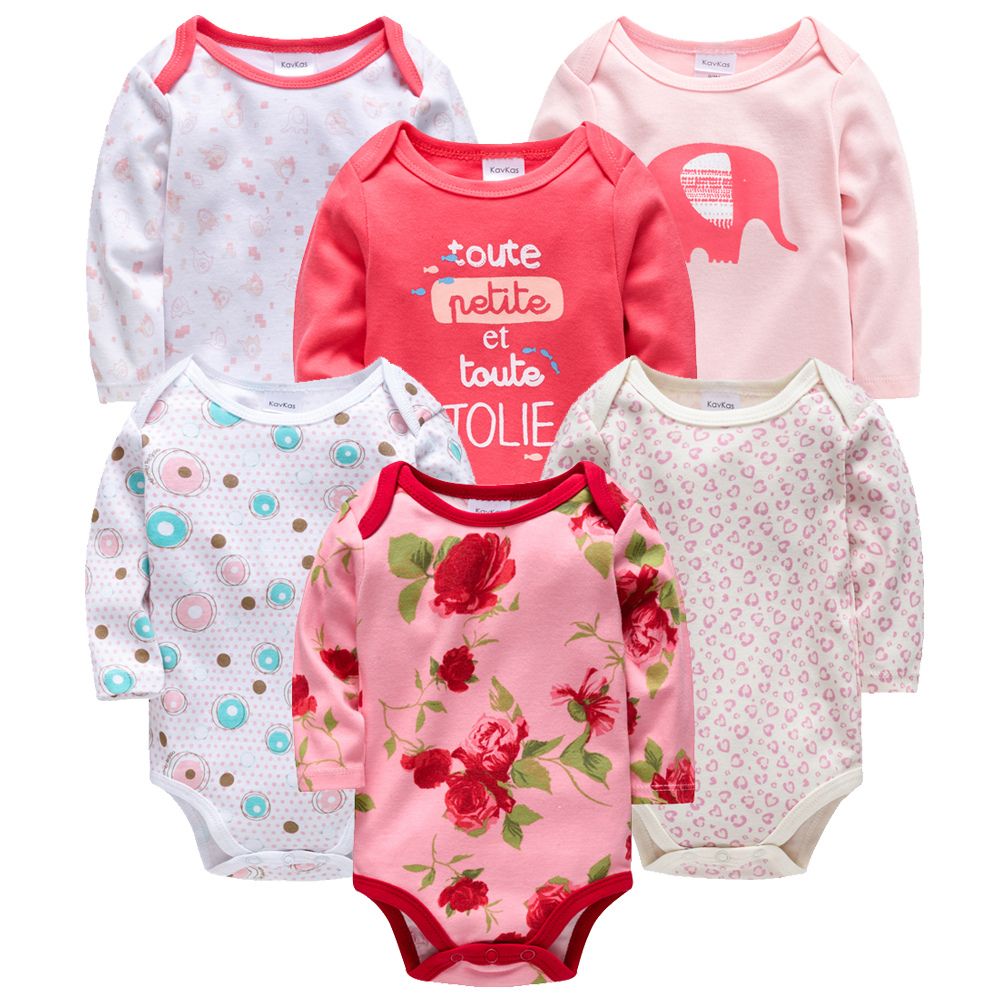 Easter Baby Clothes 6pcs/set Newborn Baby Bodysuits 100% Cotton Long Sleeve Baby Girl Clothing Flower Print Body Bebe Jumpsuit