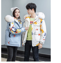 White duck down couple down jacket hip-hop little devil print thick hooded down jacket casual winter couple