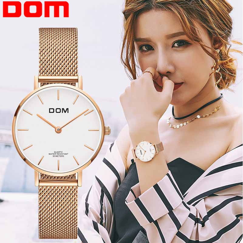 Watch Women DOM Top Brand Luxury Quartz watch Casual quartz-watch leather Mesh strap ultra thin clock Relog G-36G-7M1