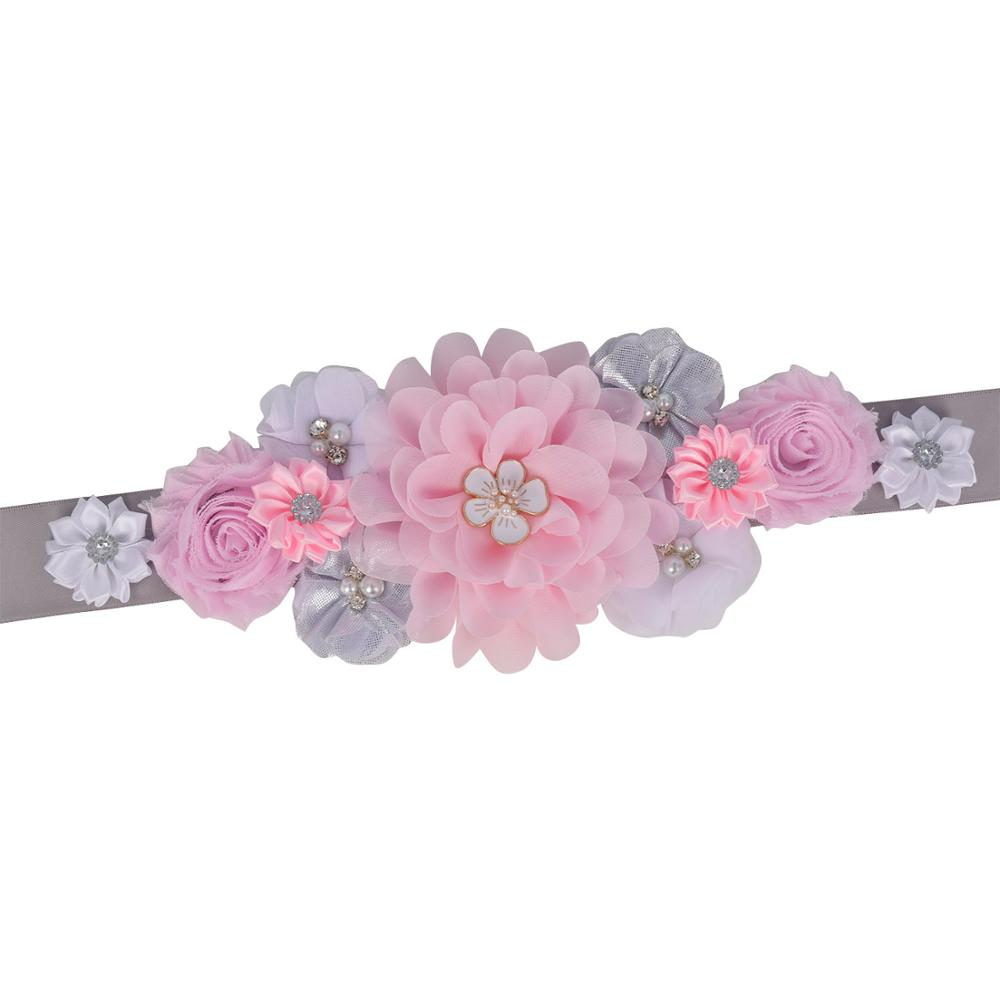 Fashion Womens Flower Sash Wedding Bridal Belly Belt Party Accessories Pregnancy Flower Belt Baby Shower Maternity Belly Belt