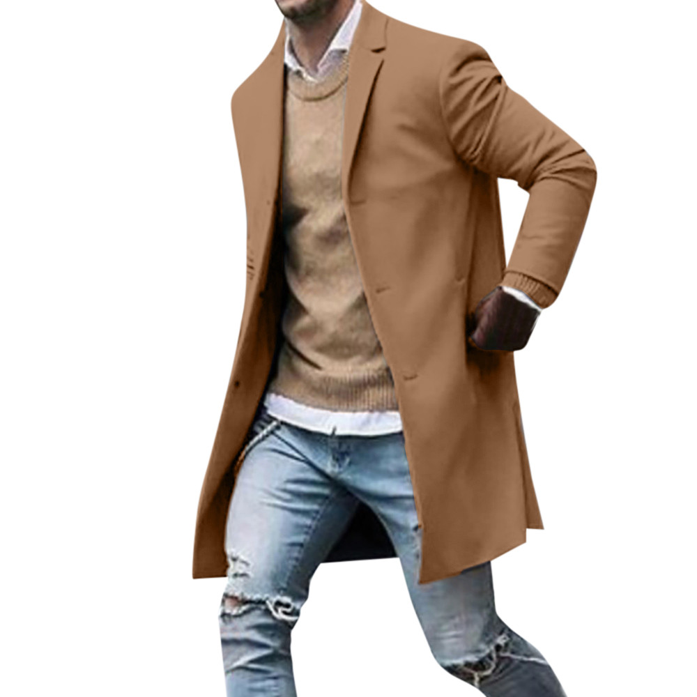 Men's Overcoat Fashion Autumn Winter Button Slim Long Sleeve Suit Jacket Trench Coat Casual high quality Mens Tops Blouse 020New 15