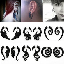 2pcs Black Acrylic Fake Cheater Twist Spiral Ear Taper Gauges Expander Earring plug Body piercing jewelry