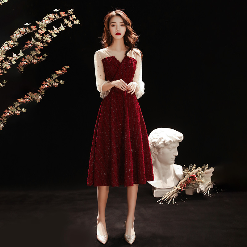 Evening Dresses Burgundy A-Line Formal Party Gowns K320 V-Neck Three Quarter Sleeve Women Vestido Knee-Length Elegant Dress