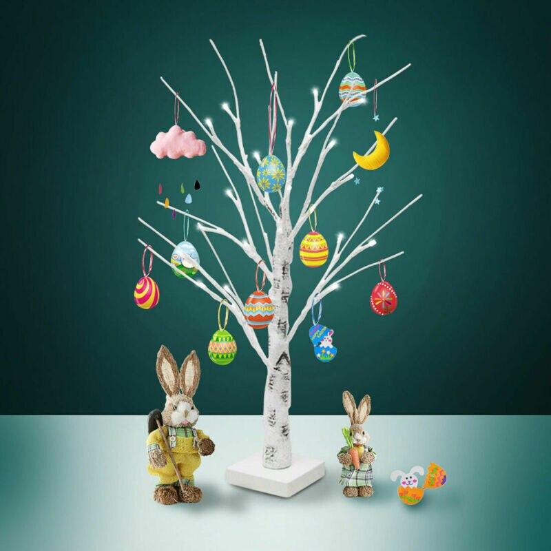 60 см белый Пасхальный дерево со светодиодными огнями декоративные фотографический фон с пасхальными яйцами для повесить украшения веточка...