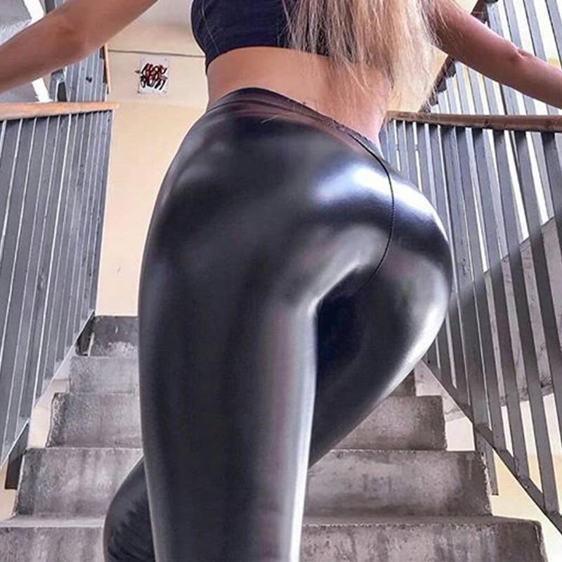 Women Ladies PU Wet Look Leggings Skinny Fit Slim Pants Leather Look PVC Trouser