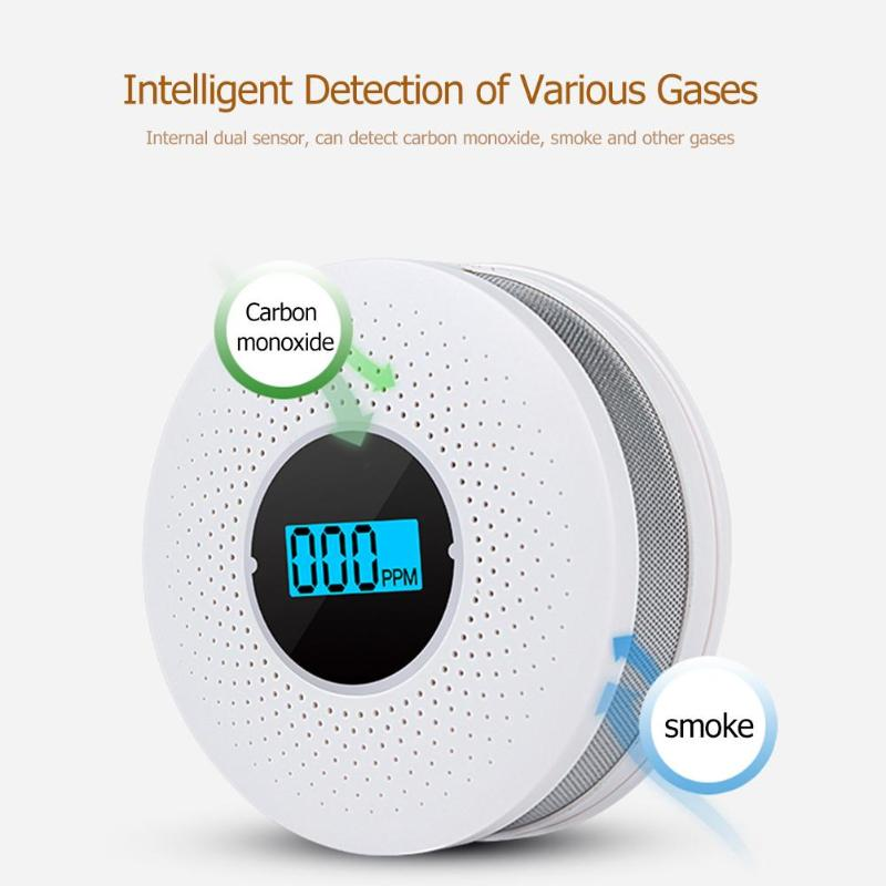 2 In 1 LED Digital Gas Smoke Alarm Co Carbon Monoxide Smoke Detector Voice Warn Sensor
