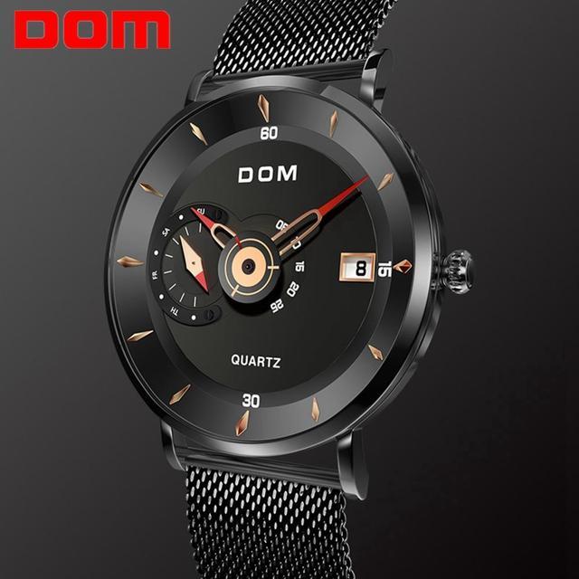 DOM Herren Uhren Zu Luxus Marke Männer Stahl Sport Uhren herren Quarz Schwarz Uhr Wasserdicht Militär Uhr Uhr M 1299BK 1M